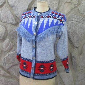 Vintage Wool Patterned Cardigan Sweater